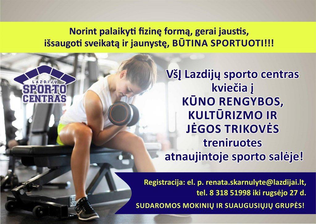 Read more about the article DĖMESIO! Kviečiame registruotis į kūno rengybos, jėgos trikovės treniruotes