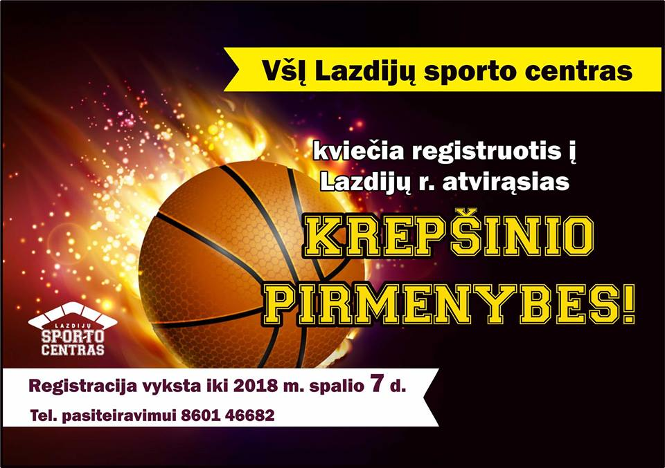 DĖMESIO! Kviečiame registruotis rajono krepšinio pirmenybėms!