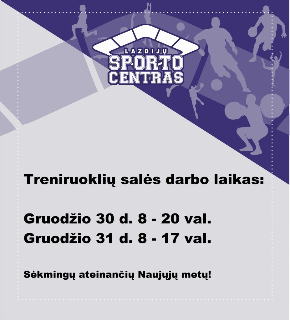 Read more about the article Treniruoklių salės darbo laikas!